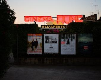 Italian Cinema/  Home Decor Gift / Travel / Print / Dark Wall Art / Neon/ Unique/ Adventure/ Wanderlust / Fine Art/ Europe/Verona