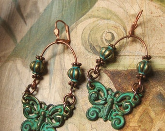 Butterfly and Bead earrings
