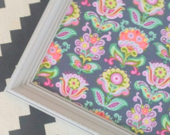 Light Gray Framed Amy Butler Cork Board*Ready to Ship*Teen Bulletin Board*Multicolored Fabric Pin Board*Magical Forest Collection