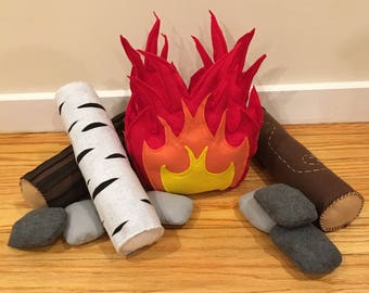 Campfire Set - Camping - Pretend Play - Felt Food - Toy Campfire