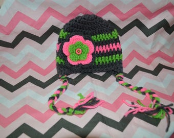 handmade crochet newborn earflap hat with braids and flower