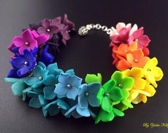 Bracelet with small flowers, Floral Bracelet, Polymer Clay Bracelet, Bright bracelet, Rainbow bracelet, Multicolored bracelet