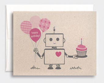 Birthday Card, Robot - Pink, Brown, Happy Birthday, Kawaii, Recycled - Assorted Colors