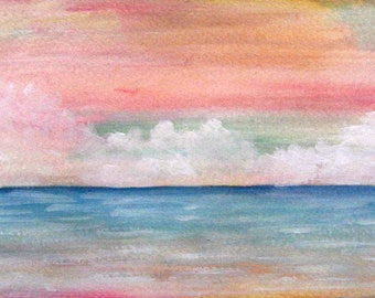 tiny panoramic seascape watercolor painting on paper