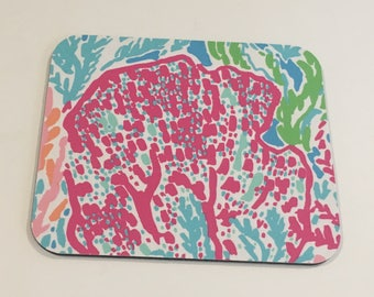 Lilly Pulitzer Fabric Mouse Pad Turquoise Lets  Cha Cha