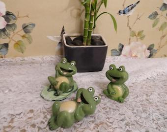Frogs Vintage Ceramic KnickKnacks by Silvestrio Made in China