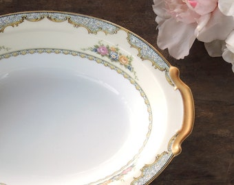 "Vintage Noritake Martelle 10"" Oval Vegetable Bowl Weddings Tea Parties Cottage Style Serving Pieces Bridal China"