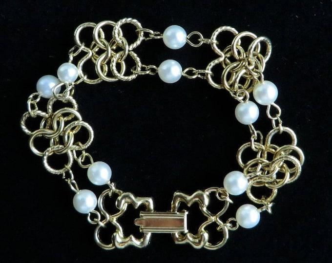 Vintage Link Bracelet, Goldette Jewelry, Faux Pearl Bracelet, Dainty Link Bracelet, Gift for Her