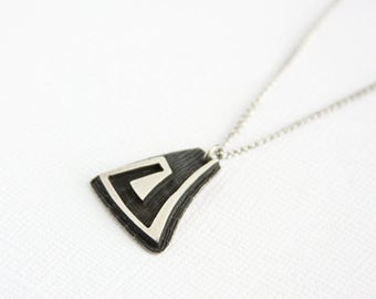Vintage Handcrafted Pendant Necklace Sterling Silver Geometric Swirl Design Handmade Silver Pendant Chain Artisan Art Jewelry Modern Tribal