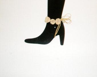 Bridal accessories, bridesmaid flower, flower girl wedding, wedding flowers,Barefoot Sandles, Leather Rose Flowers  Anklet  barefoot sandals