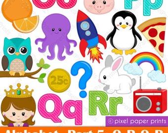 Alphabet Clipart  Part 5- ABC clip art - OPQR - School clip art