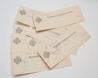Ephemera Pack: Antique Checks from 1904, Set of Eight Pieces