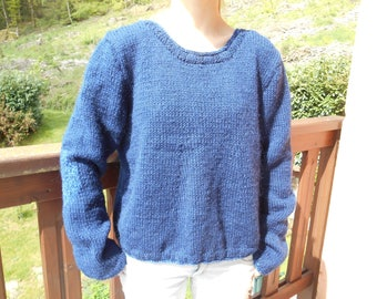 Navy sweater oversized acrylic and angora.