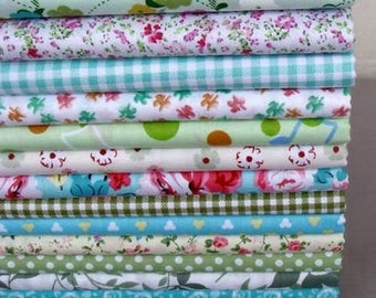 13 coupons fabric patchwork/seam 40 x 50 cm Green Spring tones 210315