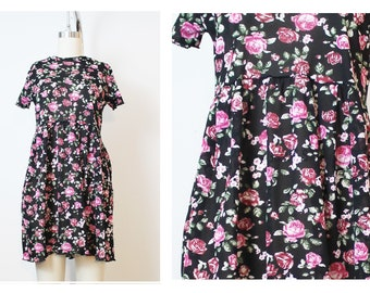 Sheer Rose Print Mesh Beach Goth 90s Inspired Babydoll Dress Vintage Fabric Handmade