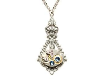 DUSK BLUE Steampunk WEDDING Necklace, Steampunk Watch Necklace, Silver Something Blue Wedding, Steampunk Jewelry VictorianCuriosities