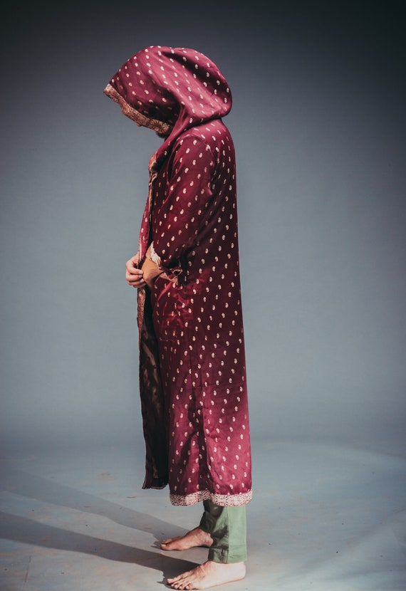 Wine Red Coat Hooded Eastern Men's xwATaYSq
