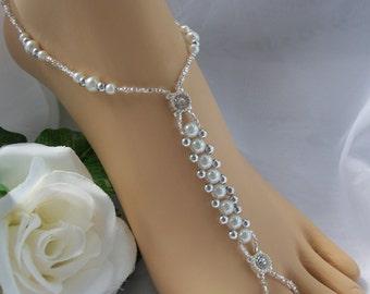 Pearl & Silver Bridal  Barefoot Sandal  Beach Wedding Bridal Foot Jewelry