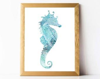 Seahorse Print PRINTABLE | Seahorse Wall Art DIGITAL DOWNLOAD | Beach Decor Print Beach Wall Art Printable Sea Horse Print 5x7 8x10 11x14