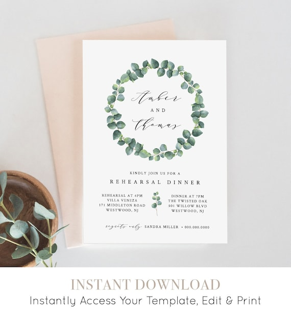 Rehearsal Dinner Invitation, INSTANT DOWNLOAD, 100% Editable Template, Printable Wedding Rehearsal Invite, Greenery Eucalyptus #036-122RD