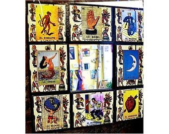 Loteria wall mirror retro Spanish pop culture Mexico style rockabilly vintage kitsch