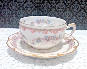 Antique Haviland Tea Cup and Saucer, Limoges Porcelain, Mismatched Set, Pink Blue Lavender Floral, Gold Trim, Cottage Chic, Circa 1889-1896