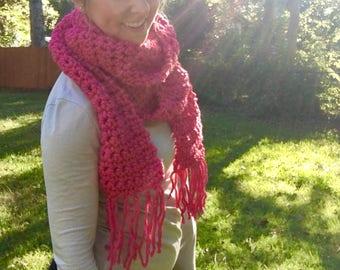 Super Long Pink Crocheted