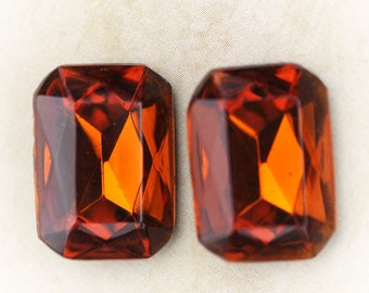 LAST ONES: 18x13mm Vintage Octagon Madeira Topaz Faceted Glass Jewels, (Dr12-T3-2-3) Quantity 2
