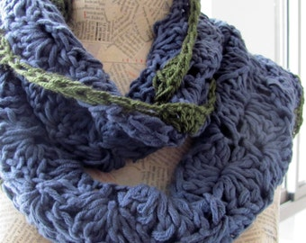 Valentine day gift Scarf for women--Handknitted--flowers--Soft and cozy-100percent Cotton--shawl--blue green