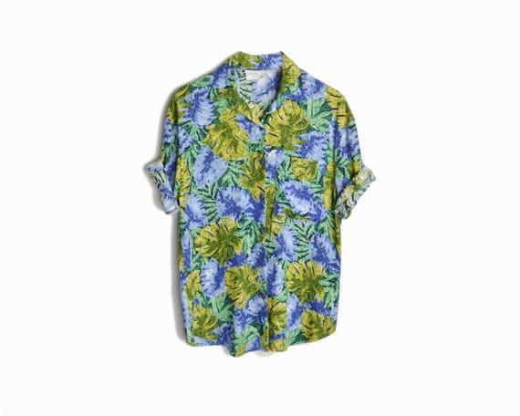 Vintage 90s Monstera Leaf Surf Shirt / Tropical Party Shirt / Philodendron Blouse - women's large/xl