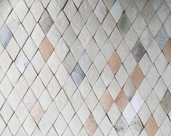 0.25 sqm Diamond-shaped Tiles in Pale, Neutral Tones *Seconds*