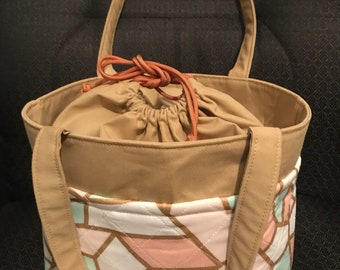 Pastel Colors Insulated Drawstring Lunch Bag