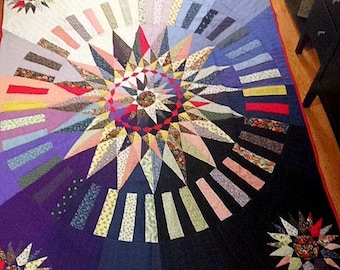 "Vintage Starburst Star Art Quilt - LARGE -  84"" X 69"" - Hand Made Patchwork Wall Hanging Bedspread Cottage Decor Rainbow Colors EXQUISITE!"