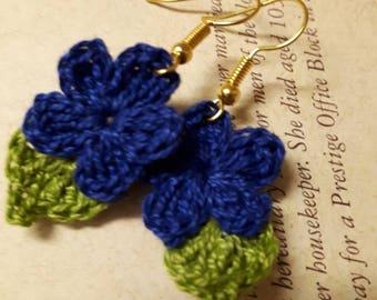 Blue Crochet Flower Earrings. Handmade Crochet Flower Earrings.