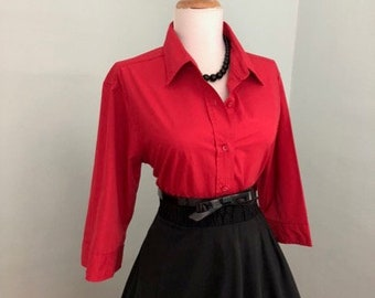 1950s 1960s Vintage Red Button Down Shirt Blouse + Retro 3/4 Sleeve Rockabilly Pin Up Top + Red Cotton + Western Large
