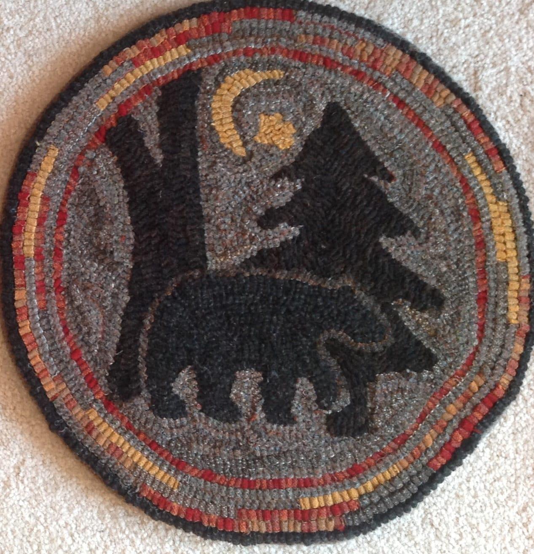 Moose Rug Hooking Kit: Rug Hooking Pattern For Moonlight Bear Chair Pad, On Monks