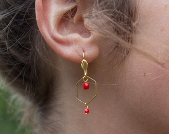 hexagon earrings, red earrings with hexagon shape, geometric earrings, dangle hexagon earrings, red and gold earrings