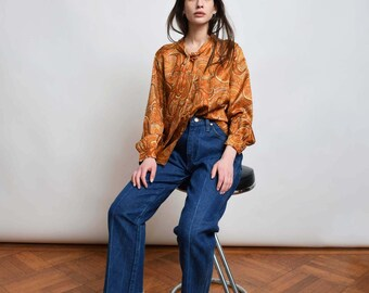 1970s Paisley Ascot Blouse 70s Vintage Orange Ascot Tie Top XS S M