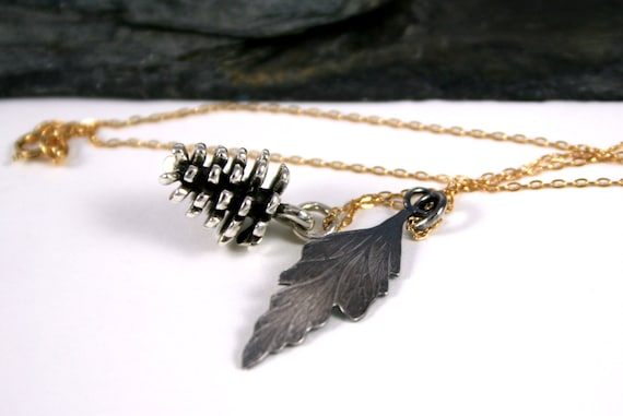Sterling Pinecone & Fern Leaf 14K GoldFill Necklace- Holiday Jewelry, Nature Inspired, Gifts under 50