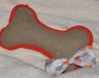 Grey with Orange and Pink Paw Prints Bowtie