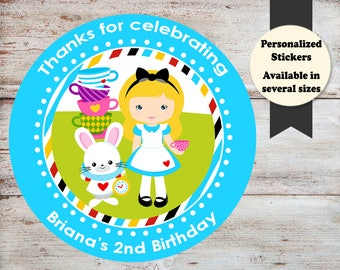 Alice In Wonderland Stickers, Alice In Wonderland Birthday Stickers, Alice In Wonderland Party Favors, Tea Party Stickers, Tea Party