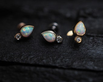 White opal teardrop and round cz screw flat back cartilage stud,helix earring,lip ring,medusa piercing,conch earring