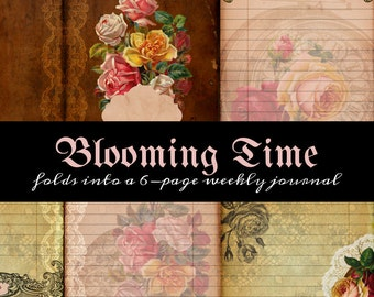 Printable One Page Scrapbooklet - Blooming Time - perfect for junk journals, hybrid journals or mini albums