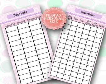 Filofax personal size, Budget tracker planner, online shopping tracker , 2 insert pages cute design, Financial Planning ,Instant Download!