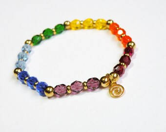 Gold Chakra Bracelet with Czech faceted glass rainbow crystals stretch *FREE SHIPPING USA* 315.1