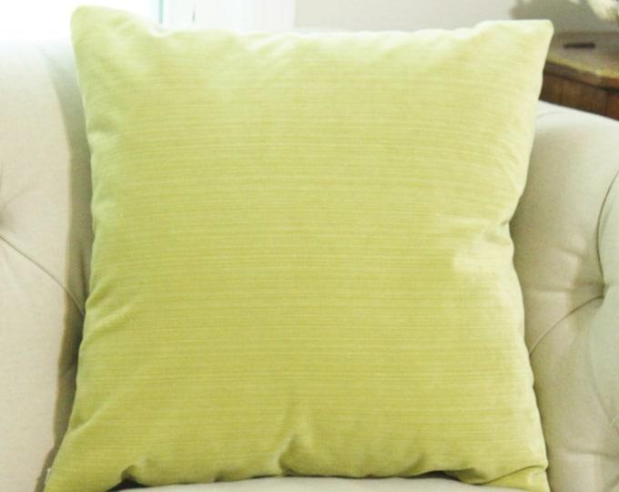 Chartruese Pillow - Lime Green Striped Velvet Pillow Cover - Throw Pillow - Velvet Pillow - Decorative Pillow Cover