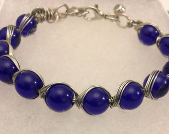Wire and Blue Bead Bracelet