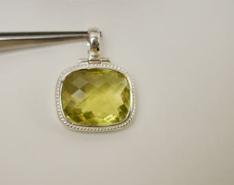 Sterling Silver. Lemon Quartz.Stunning  Huge 25x20 MM Cushion Cut Lemon Quartz and Sterling Silver Pendant.