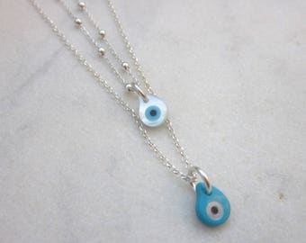Tiny evil eye charm necklace, small eye pendant, dainty mother of pearl eye, minimal chain necklace, layering necklace, everyday jewelry