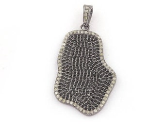 April Sale 1 Piece Pave Diamond And Black Spinel Fancy Shape Pendant Over 925 Sterling Silver 33mmx21mm PD1738